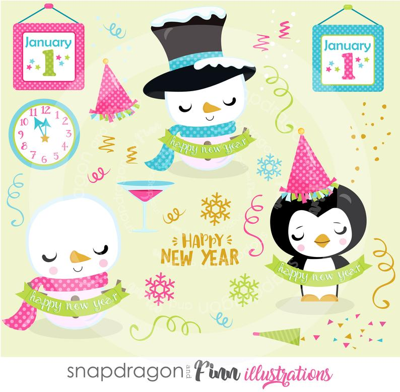 BUY5GET5 New Year's Eve clipart, snowman clipart, penguin clipart, New Year  clip art, digital illustrations, vectors,.