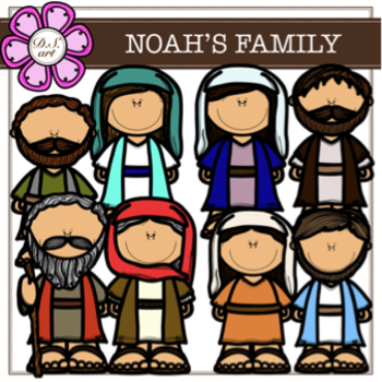 NOAH'S FAMILY digital clipart (color and black&white).