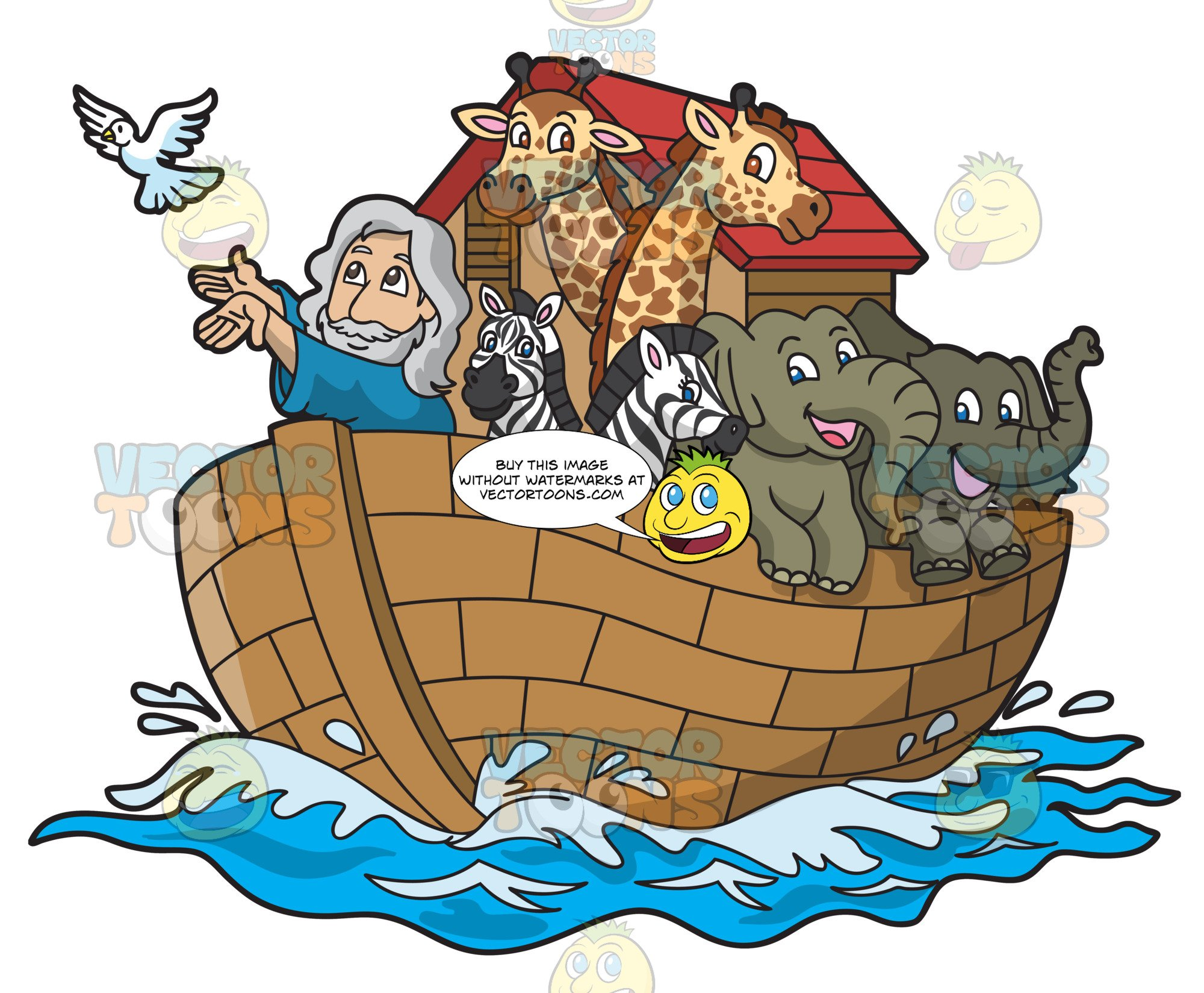 Noah In His Ark Filled With Animals.