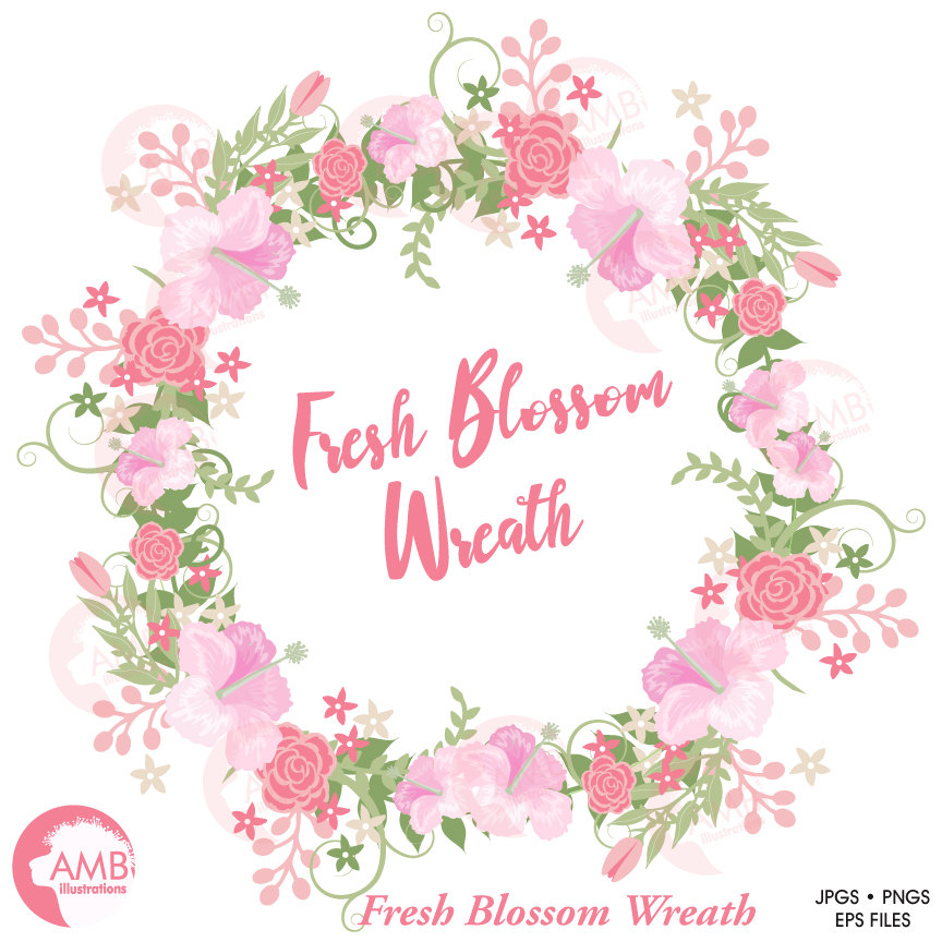 Wedding clipart, Bridal Shower clipart, Floral wreath, Pink Roses and  Hibuscus clipart, Flower frame, AMB.