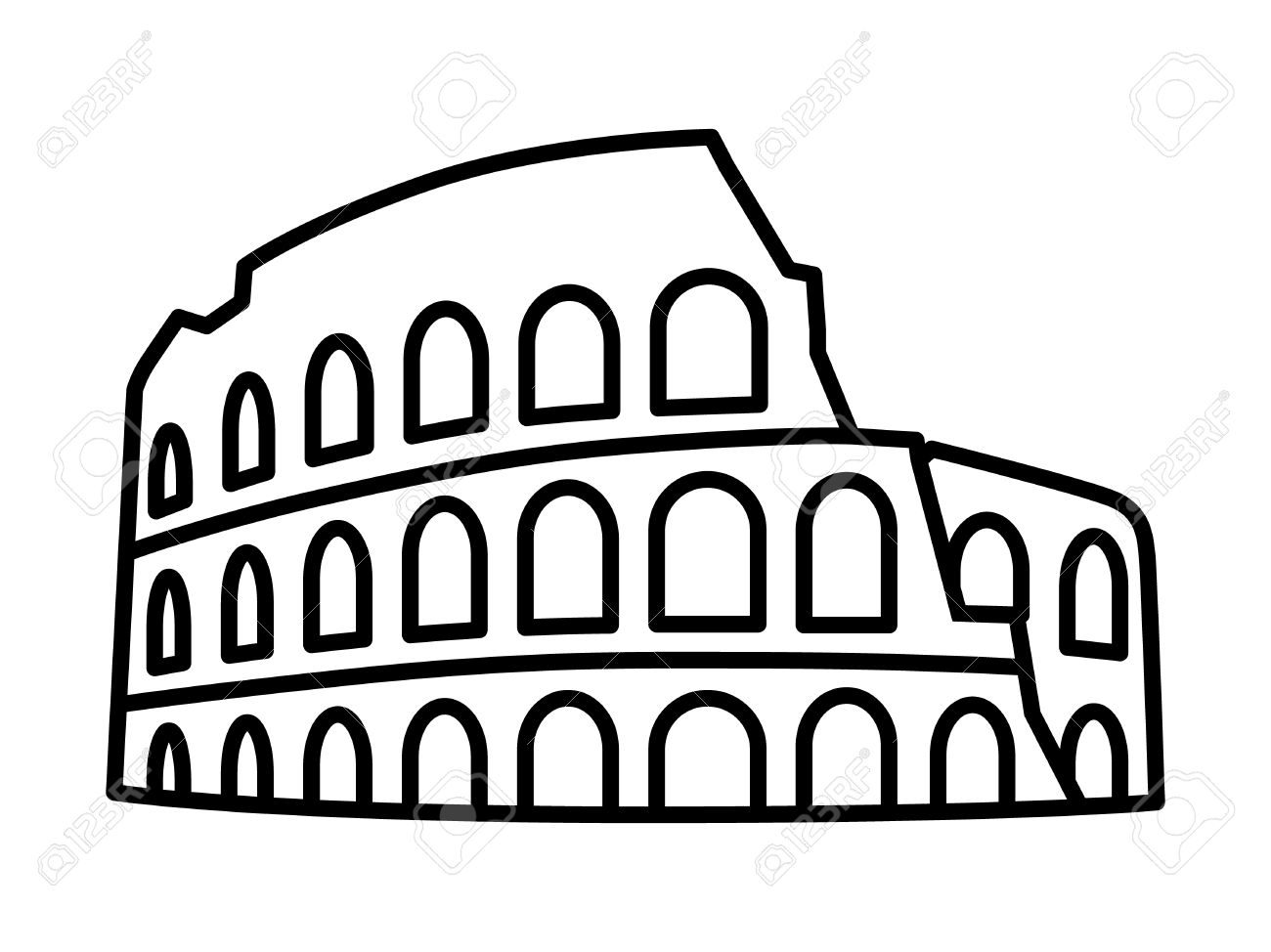 Colosseum Coliseum in Rome, Italy line art icon for travel apps...
