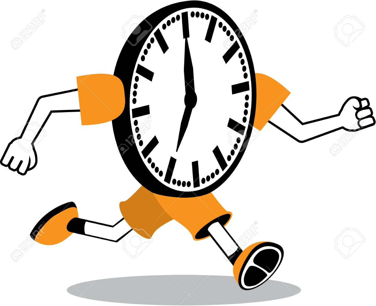 Running clock vector illustration clip.