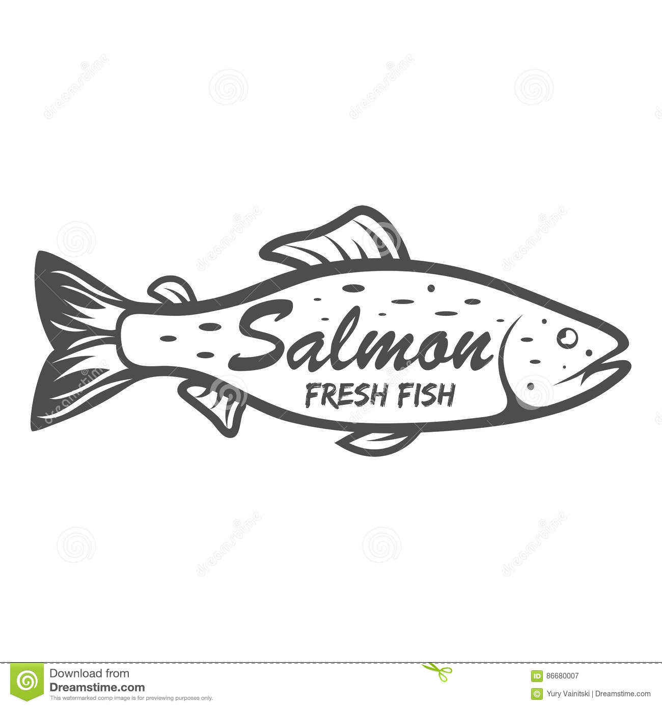 Salmon Icon . Saltwater Fish Isolated On White Background. Vector.