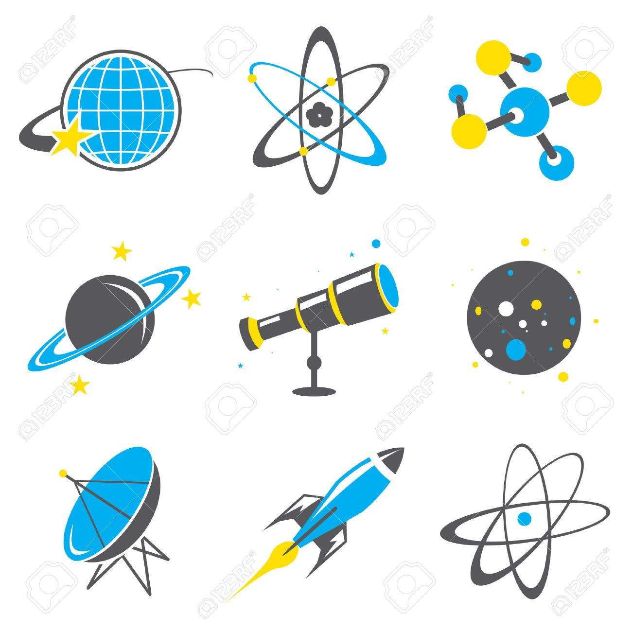 Science stuff icon Universe Solar system Planet Rocket Cartoon...