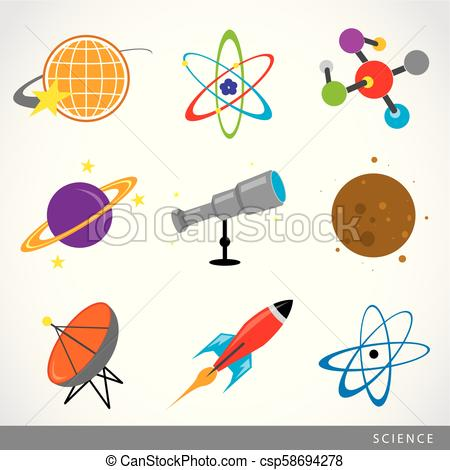 set of science stuff icon Universe Solar system Planet Rocket cartoon Vector.