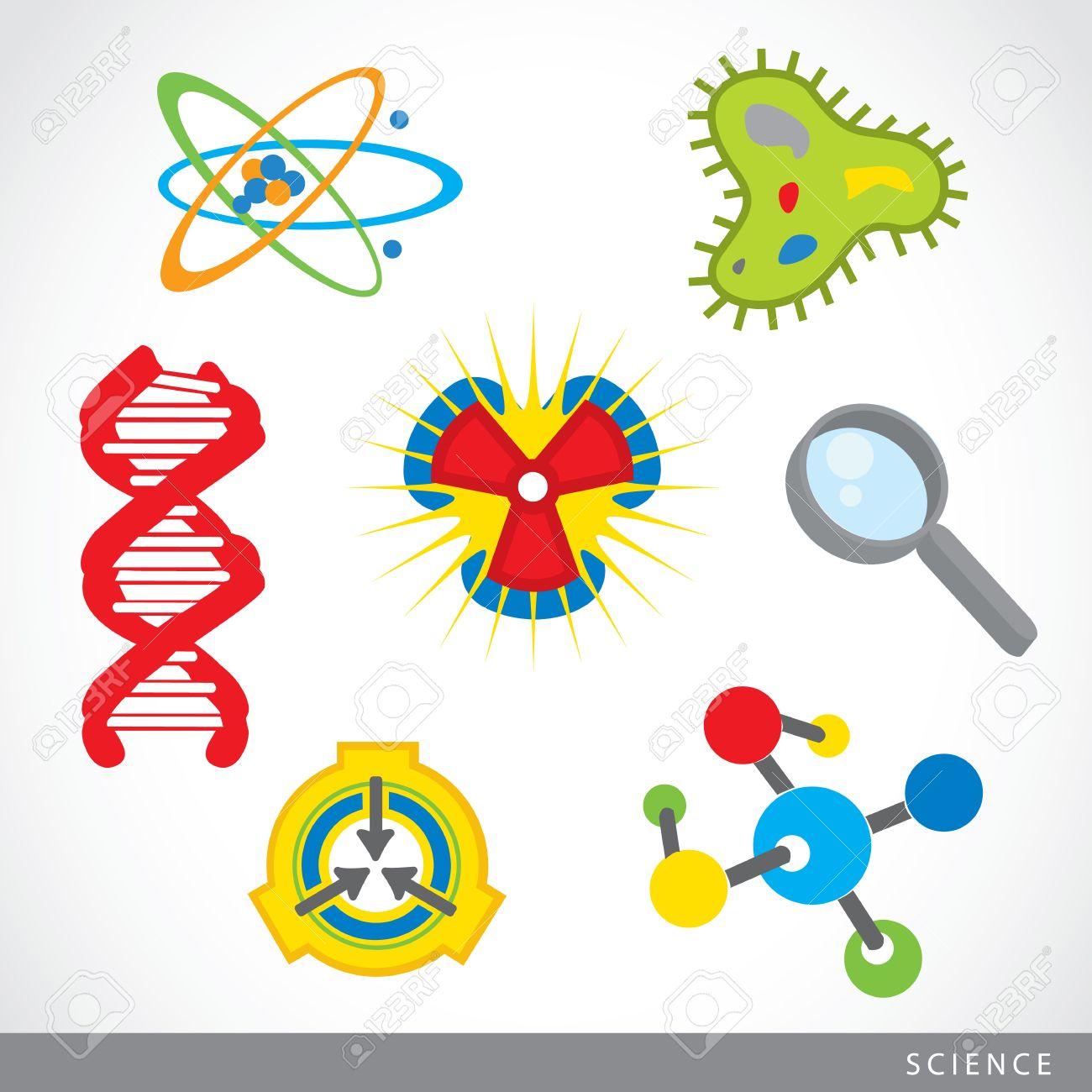 set of science stuff icon Lab cartoon vector.
