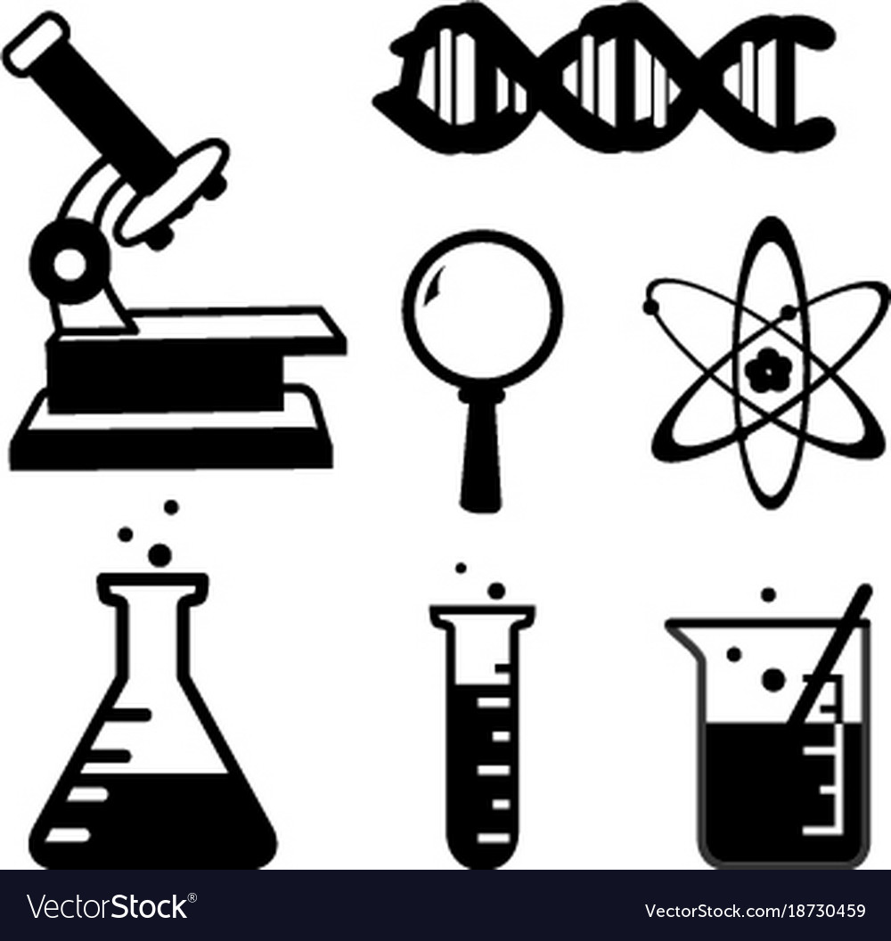 Set of science stuff icon lab cartoon icon.