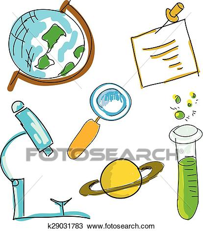 Drawn picture with science stuff. Vector illustration Clipart.