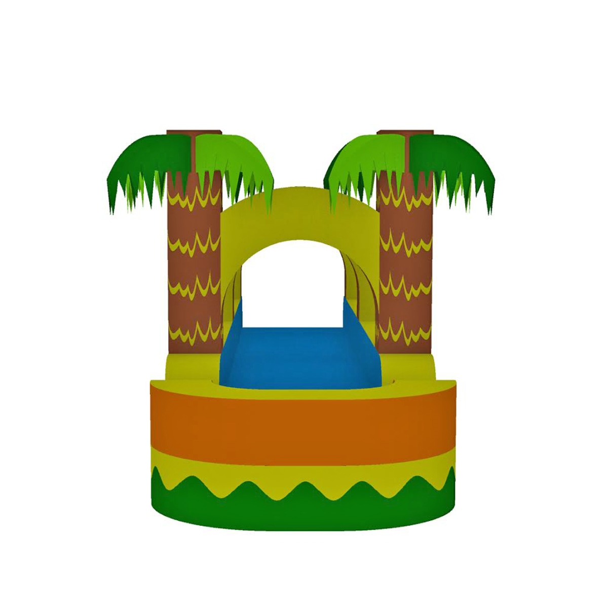 tropical palm trees water slide, bounce house, castle, castle.