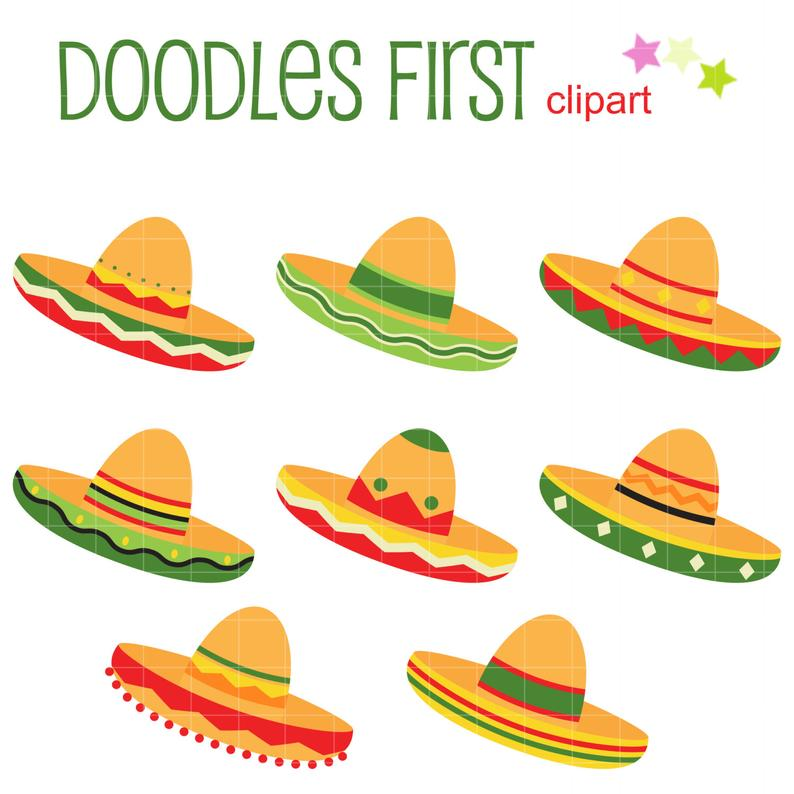 Sombrero Set Clip Art for Scrapbooking Card Making Cupcake Toppers Paper  Crafts.
