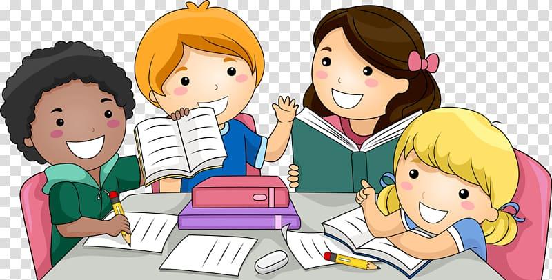 Child , Students, group of children studying illustration.