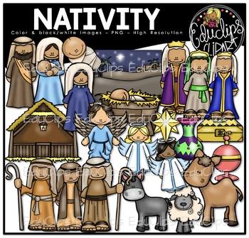 Nativity Clip Art Bundle {Educlips Clipart}.