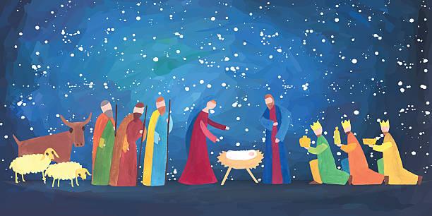 Best Nativity Scene Illustrations, Royalty.