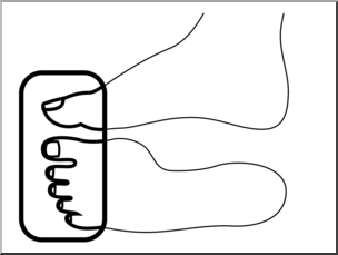 Clip Art: Parts of the Body: Toes B&W Unlabeled I abcteach.com.
