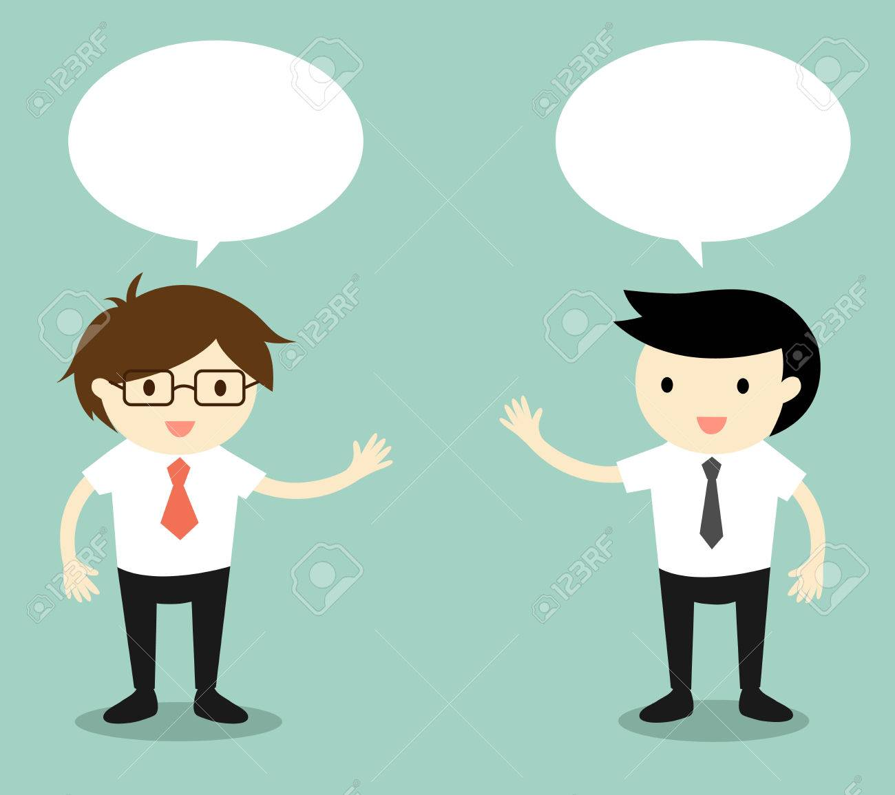 Business concept, two businessmen talking. Vector illustration..