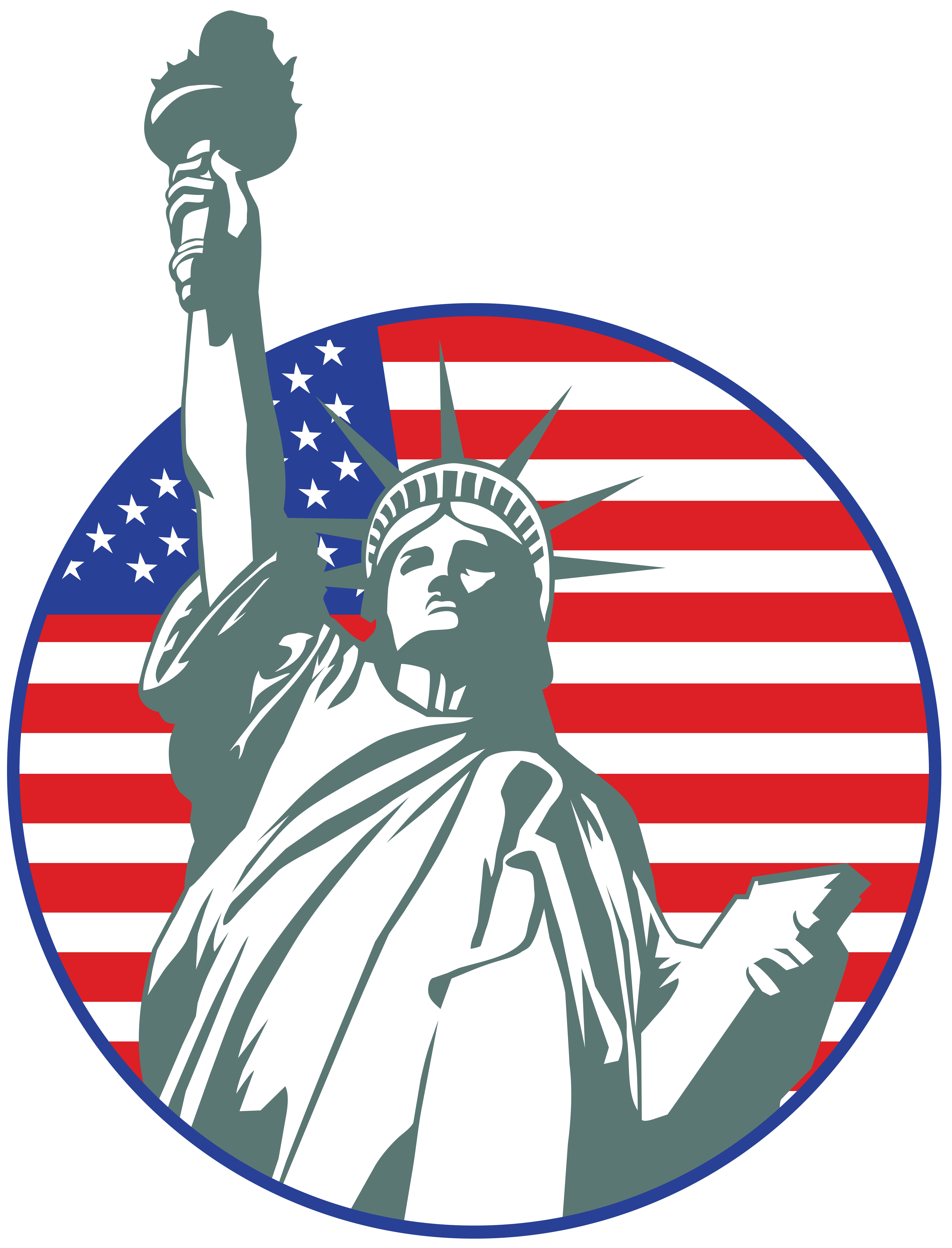 USA Statue of Liberty Stamp PNG Clip Art Image.