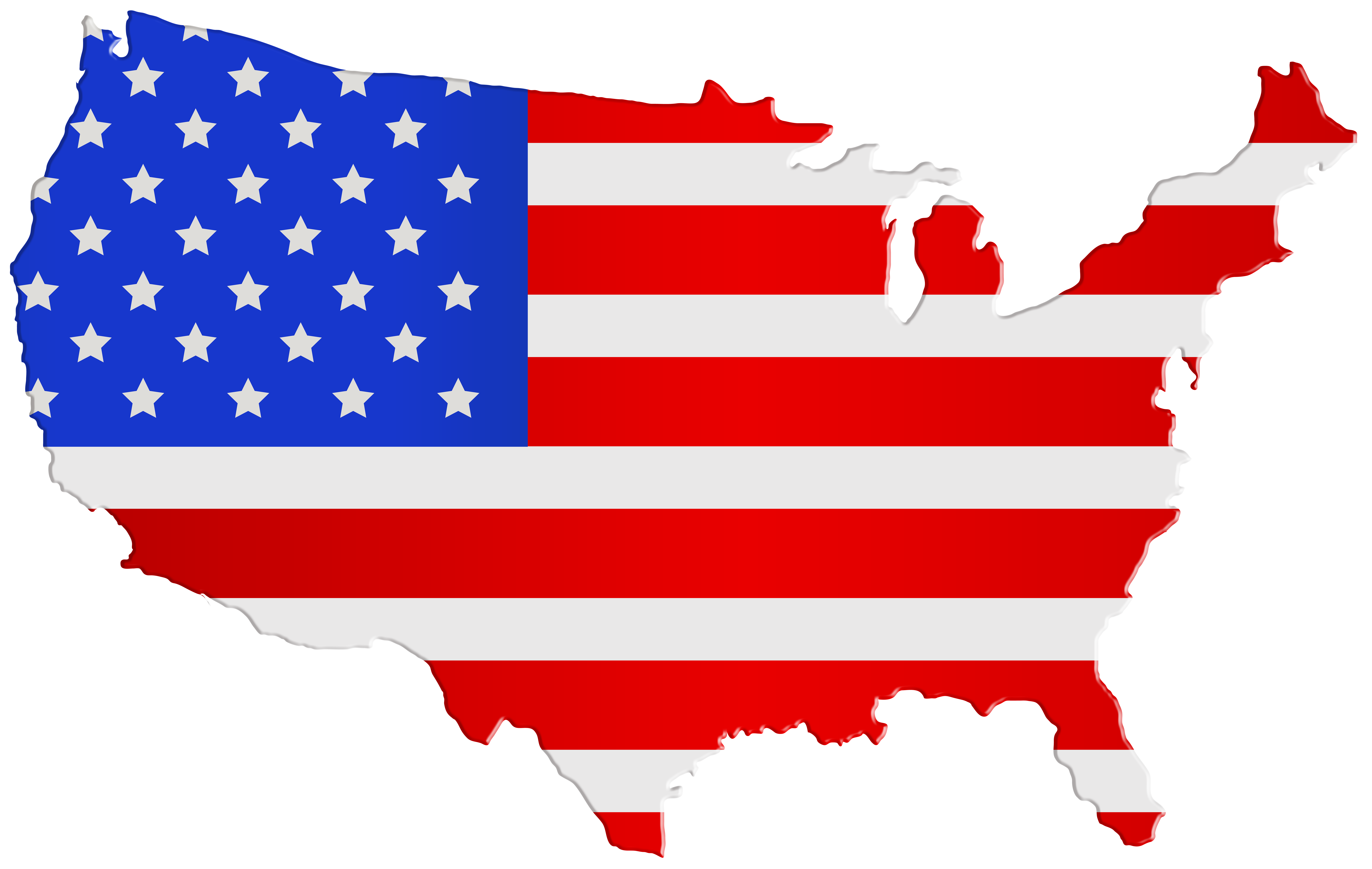 USA Map Flag PNG Clip Art Image.