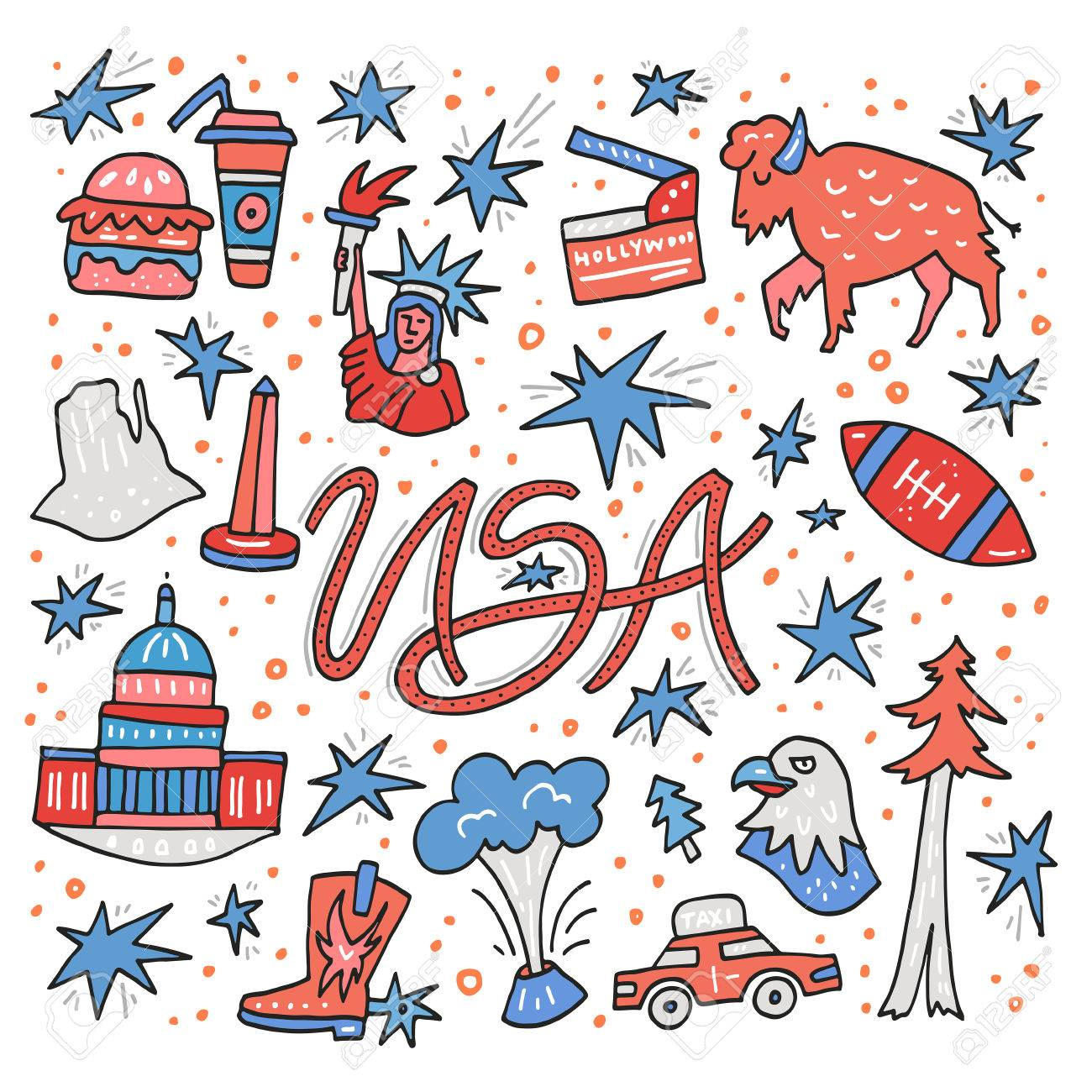 Hand drawn symbols of United States. USA clipart made in vector..