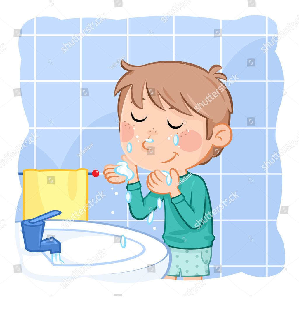 Washing Face Clipart Boy Comb.