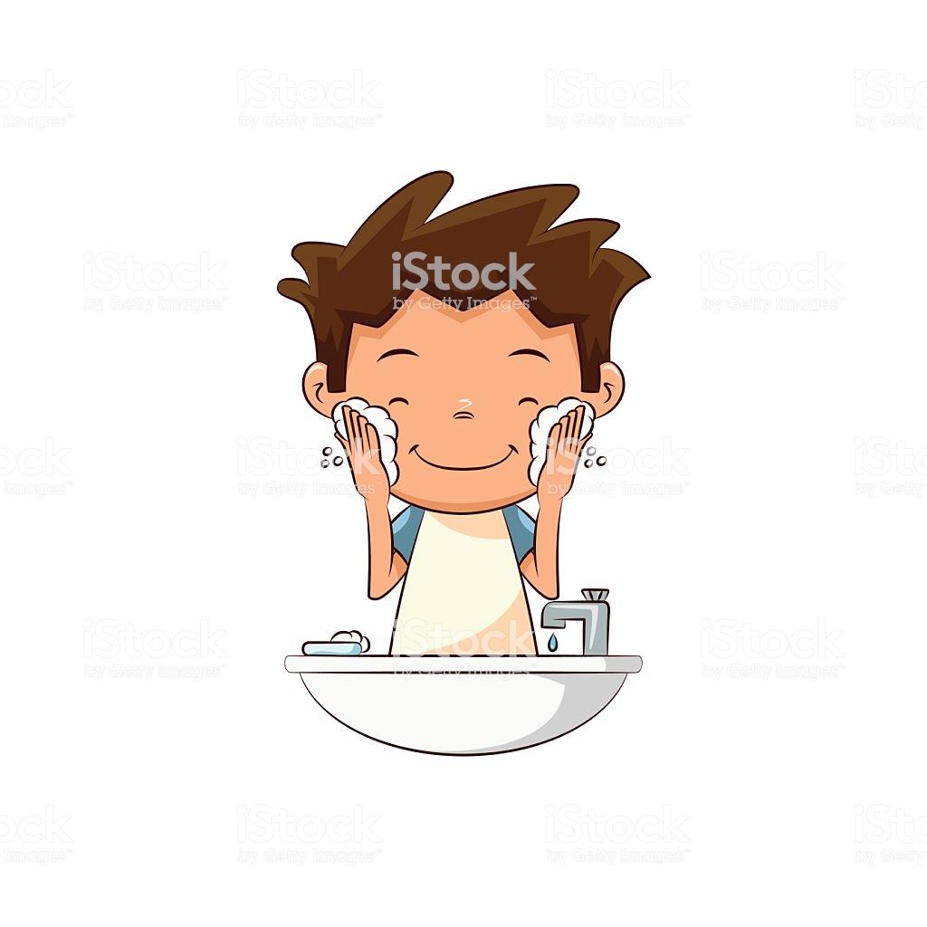 Child Washing Face Lathering Stock Illustration.