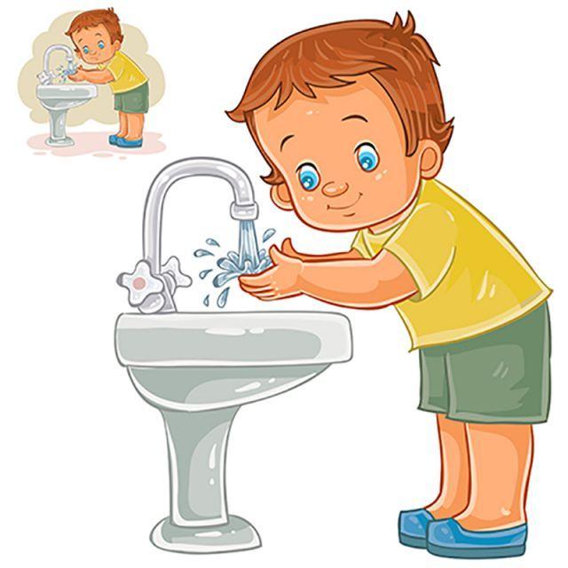 baby,boy,cute,clip,art,washing,face,hand,water,vector,cartoon,little.