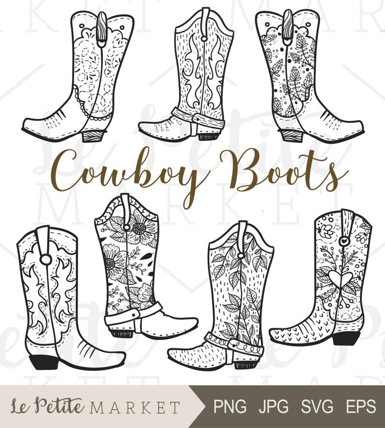 Cowboy Boot Clip Art, Hand Drawn Cowboy Boots, Cowgirl Boots Clipart,  Cowboy Boot Digital Stamp, Western Boots ClipArt, Rodeo Clipart.
