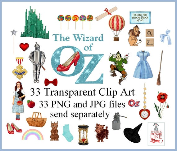 Wizard of Oz Clipart Dorothy Clip Art Digital collage sheet Wizard of Oz  Dorothy ruby slippers Illustration PNG file JPEG file 33 Sheets.