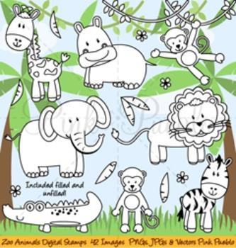 Zoo Animal Clip Art, Zoo Animal Clipart, Zoo Animal Digital Stamps.