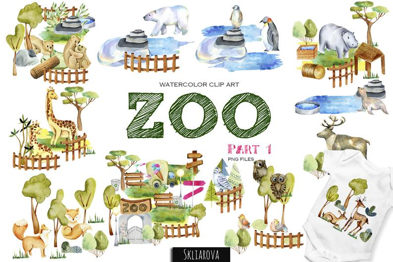Animal clipart Zoo clipart Digital watercolor animal Animal illustration  Animal clipart Cute kids print for game Nursery Watercolor zoo park.