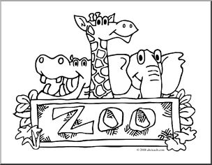 Clip Art: Zoo Graphic (coloring page) I abcteach.com.