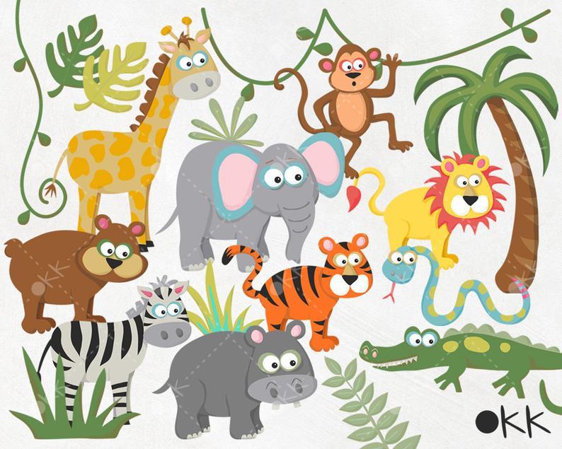 Safari Clipart / Zoo Clipart / Jungle Clipart / Wild Animals, Elephant,  Tiger, Zebra, Lion, Hippo, Bear, Giraffe, Alligator, Monkey, Snake.
