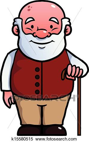 Old man holding a cane Clipart.