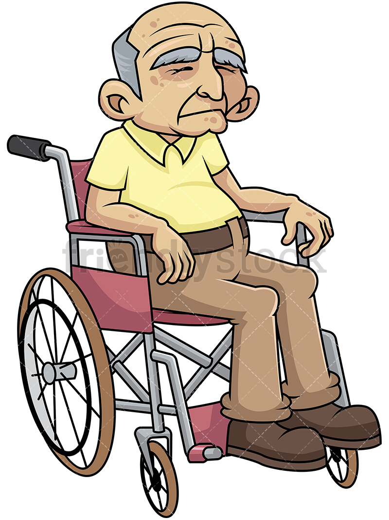Disabled Old Man In Wheelchair Feeling Sad.