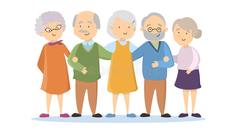 Old People Stock Illustrations.