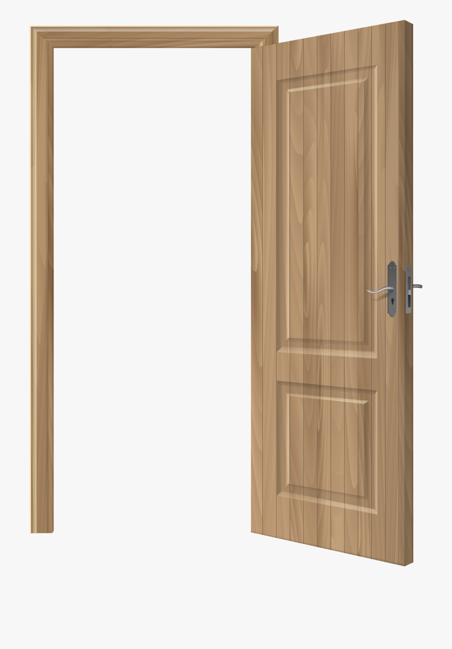 Open Wooden Door Png Clip Art.