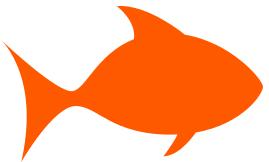 fish outline orange.