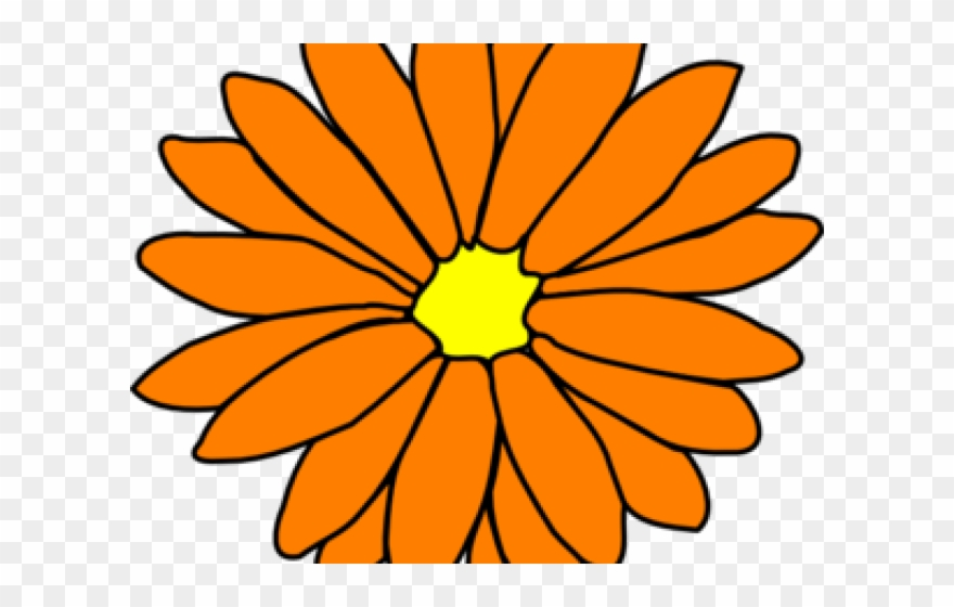 Yellow Flower Clipart Orange.