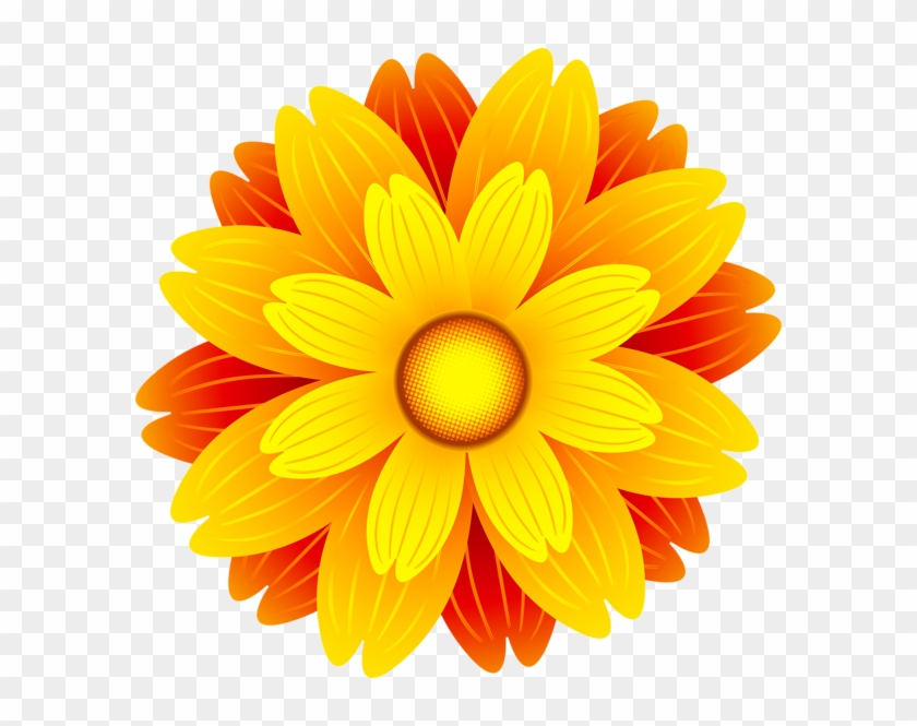 Orange Flower Png Transparent Clip Art Image.