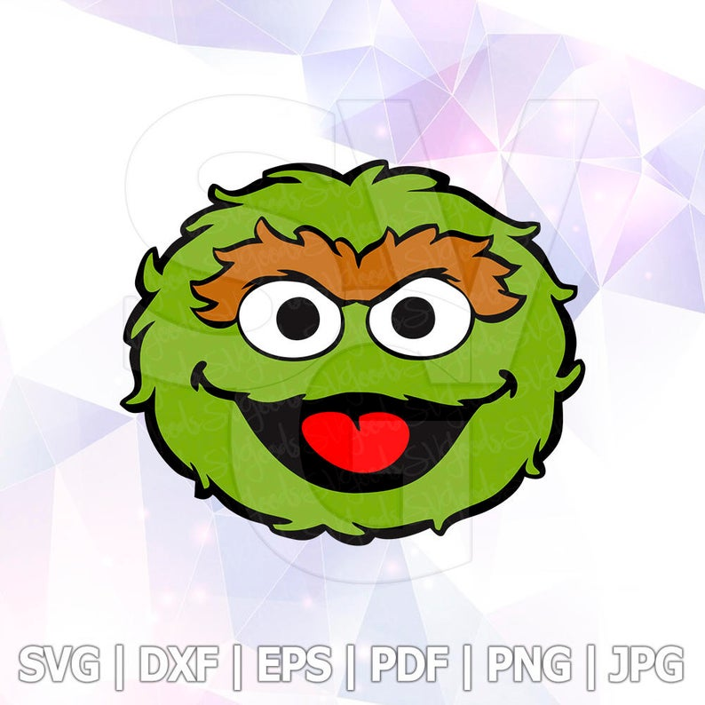 Oscar the grouch Sesame Street Vector LAYERED SVG Cut File Cricut  Silhouette Cameo Party Decorations Vinyl Tshirt Decal crafting Transfer.