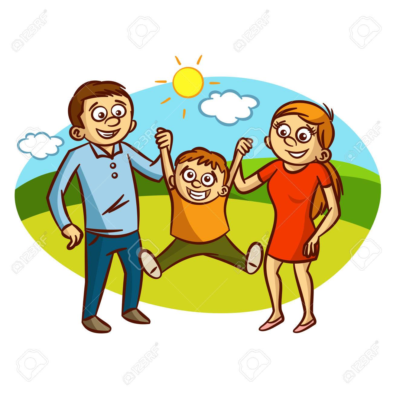 Happy Family walking outdoors Clipart.