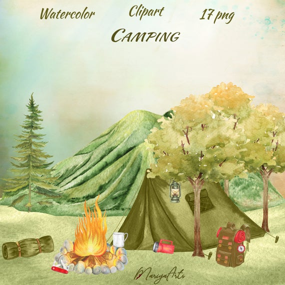 Camping Clipart, Watercolor Clip Art, Outdoors Hiking, Camping Invitation,  Hand Painted Tent, Lantern, Backpack, Tree, Mountains, Campfire.