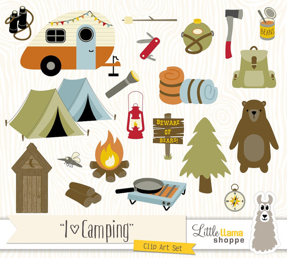 Camping Clipart, Vector Backpacking Clip Art, Camp Clipart, Hiking.
