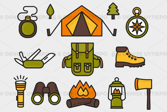 Camping Clipart / Hiking Clipart / Outdoors Clipart Elements Set.