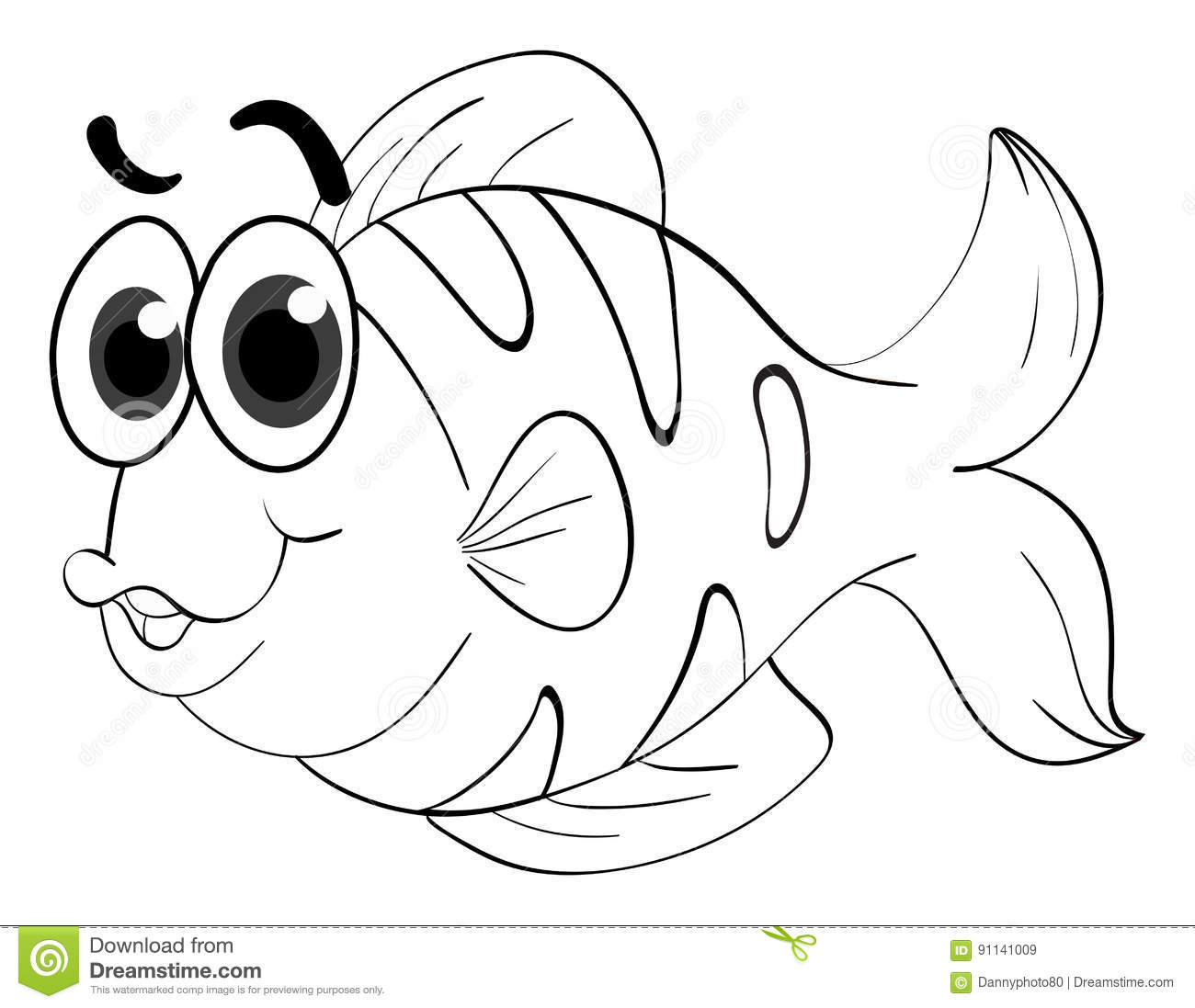 Animal Outline For Cute Fish Stock Vector.