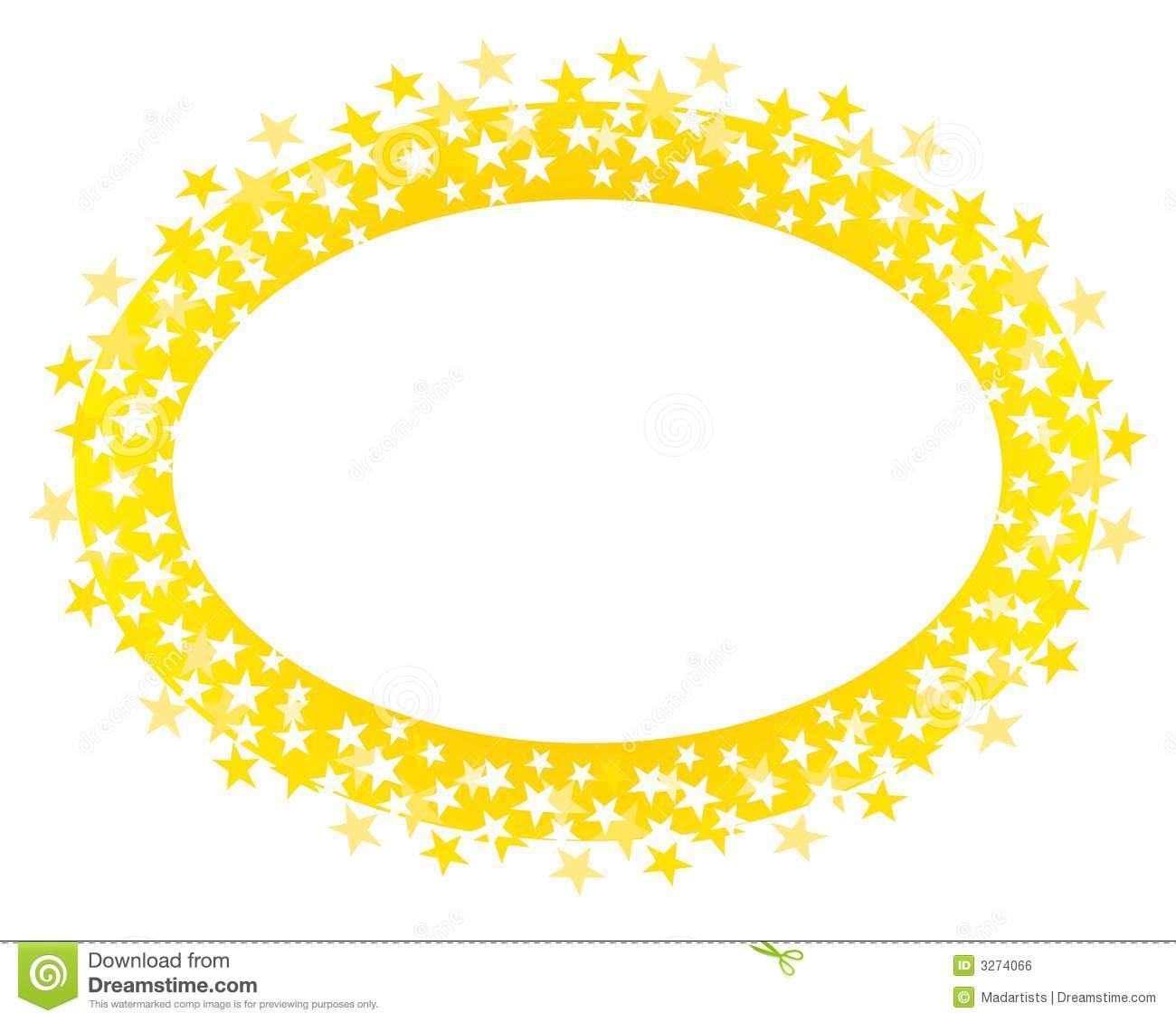 Gold Oval Stars Border Or Logo Stock Illustration.