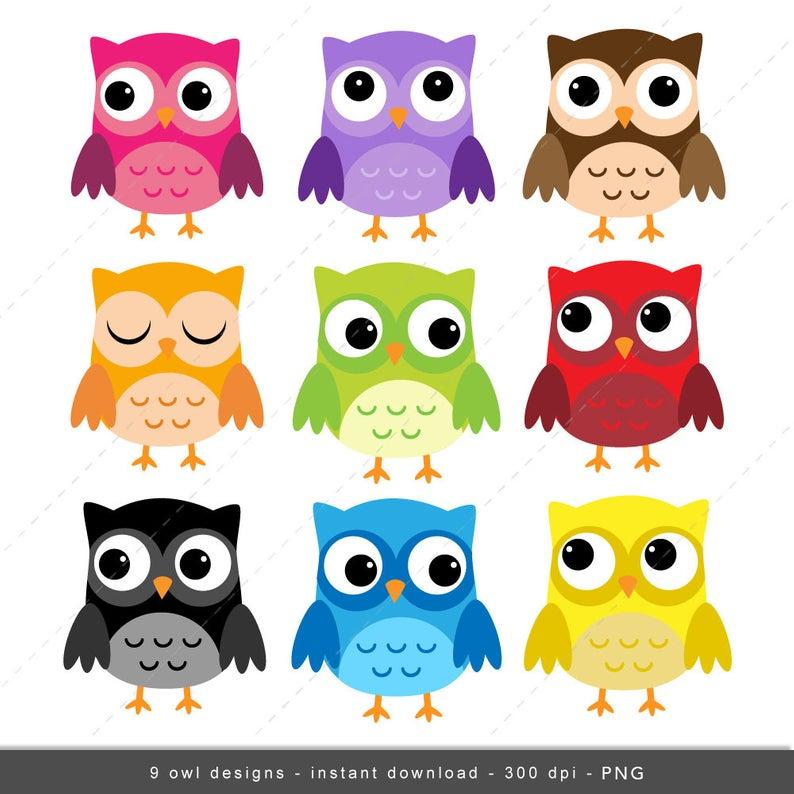 Owl Clip art, Owls Digital Owl clipart, Scrapbook Supplies, cute, sweet,  pink, purple, green, red.