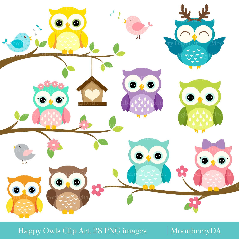 Happy OWLS Clip Art. Digital Owls Clipart. Cute Owls Clipart..