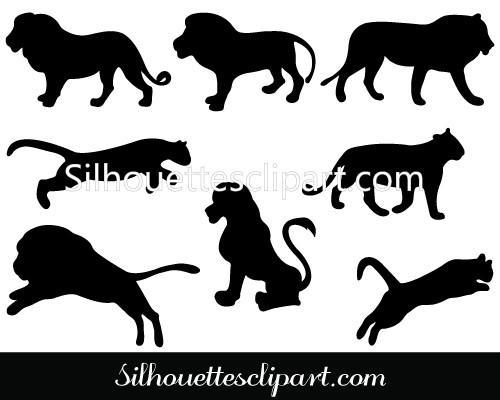 Lion Silhouette Clip Art Pack Template.