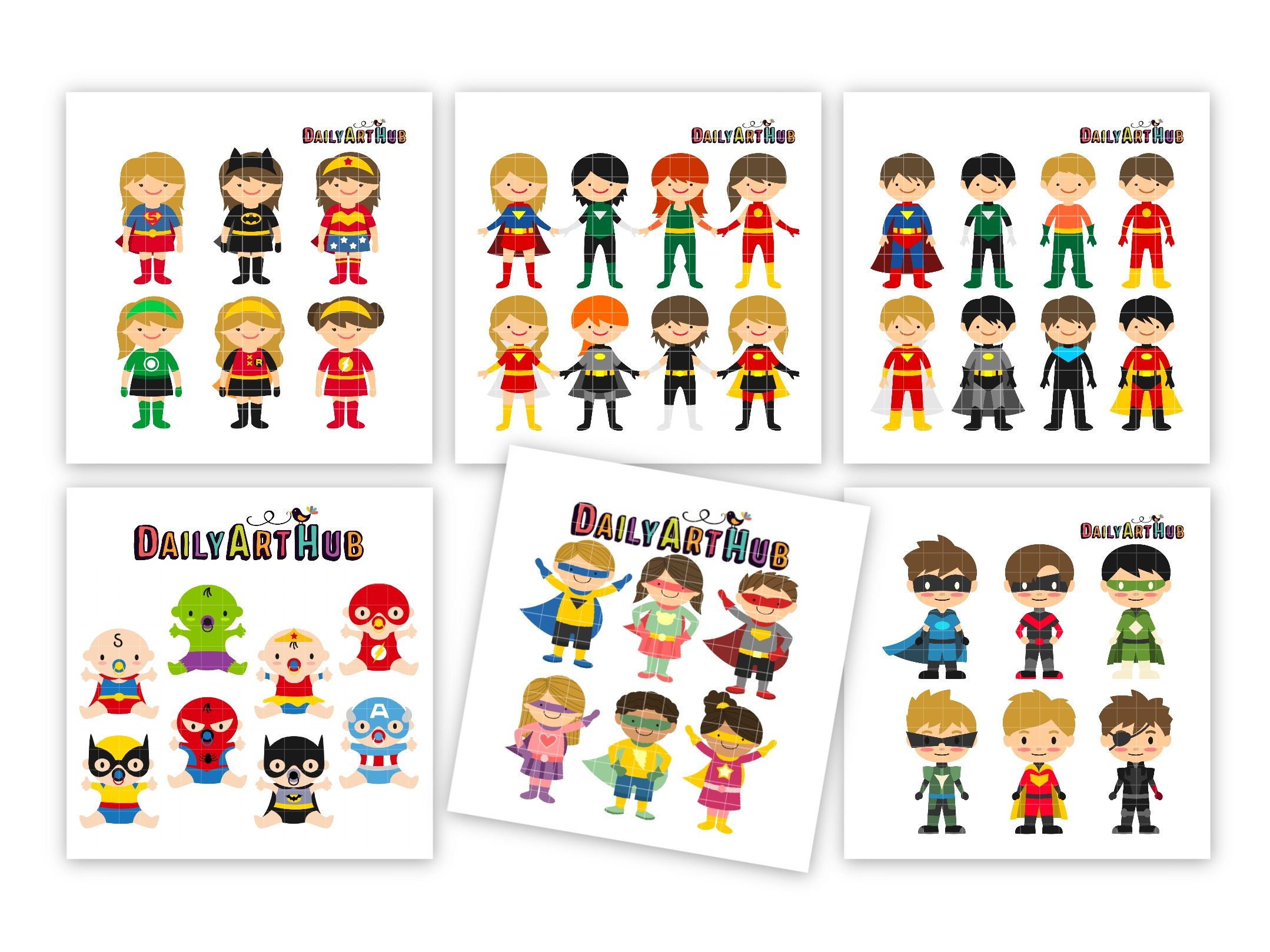Mega Hero Kids Clip Art Vectors Pack.