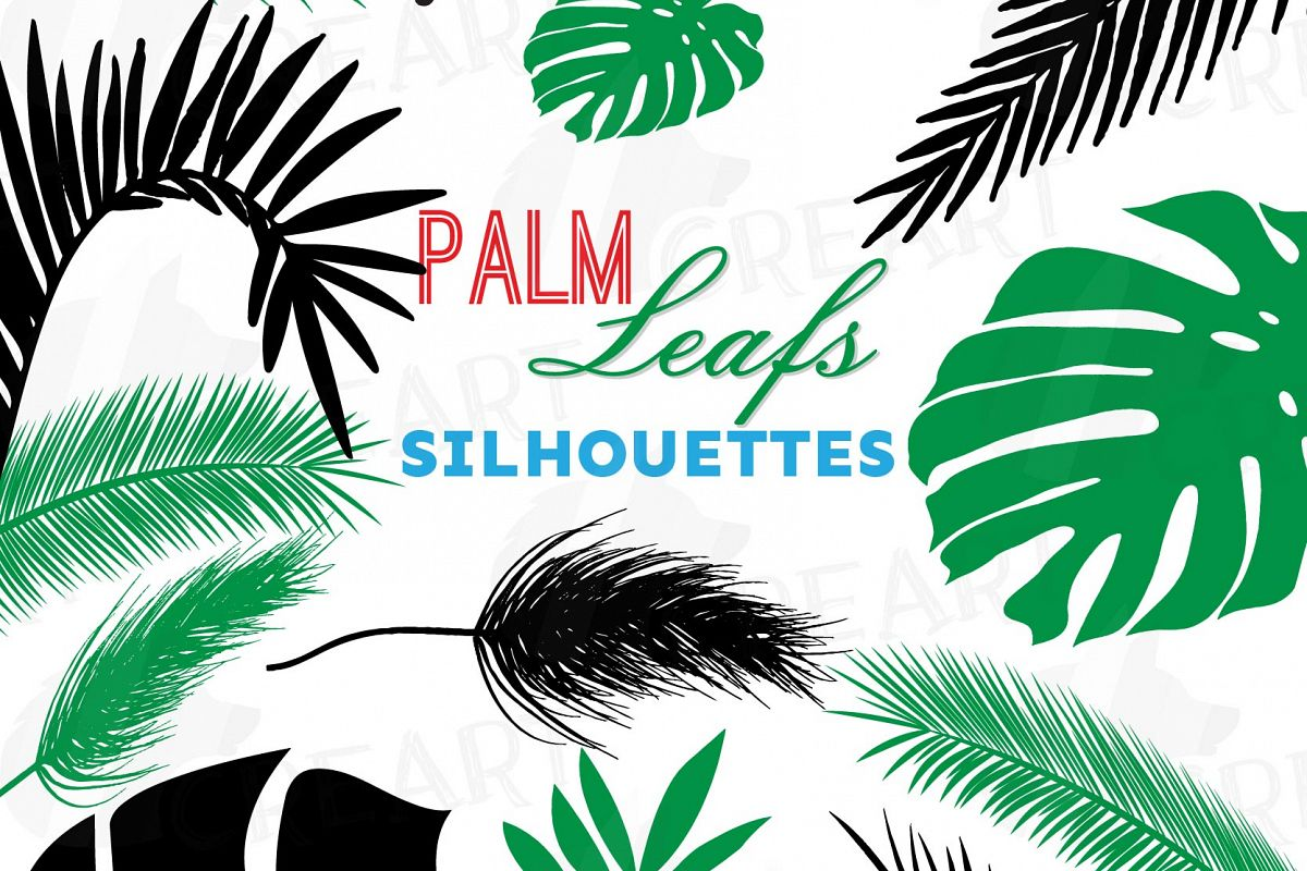 Tropical leaf silhouette clip art pack, black and green palm leaf  collection. Eps, png, jpg, pdf, svg, vector illustrator & corel files  included.